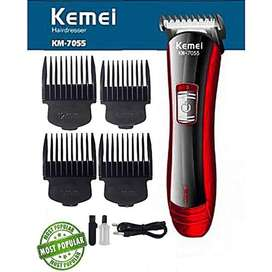 Kemei km-7055 Electric Rechargeable Hair Trimmer with 4 Clippers
