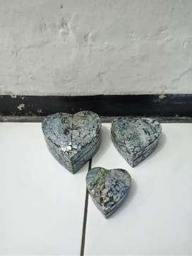 Kotak perhiasan kerang love set