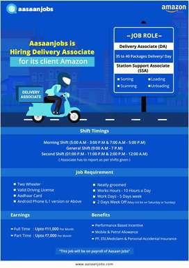 Amazon (Aasaanjob's Client)- Delivery Associate E-Commerce (Guntur))