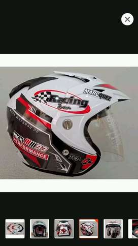 helm racing putih dobel visor