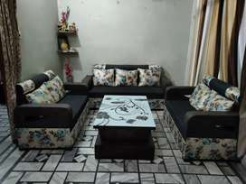 7 seater sofa with center table and cusion
