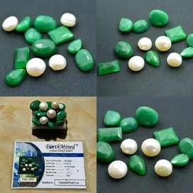 101.95 Ct. Certified Natural Bazilian Emerald/Pearl Lot Gemstone