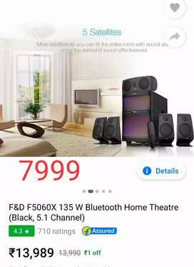 F&D F5060x 135 w Bluetooth home theatre 5.1 channel at just 7999 only