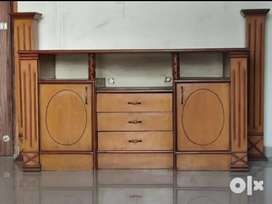 Wooden TV unit with 8 compartments made by ply and viniear