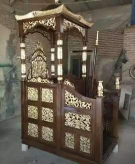 mimbar masjid kubah bahan jati minimalis