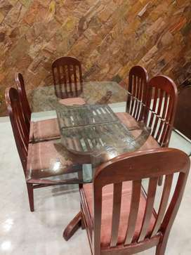 6 Seater Glass Top Dinning Table with chairs