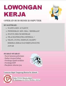 Lowongan Kerja untuk Wanita sebagai operator bordir komputer/karyawan