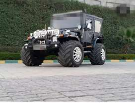 Stylish modified jeep with silver paint front