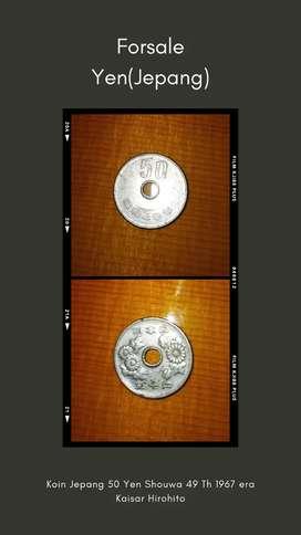 Uang Koin Jepang 50 Yen Shouwa 49 Th 1967 era Kaisar Hirohito