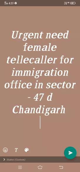 Requirement only girls for tellecaller in immigration office