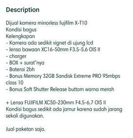 Kamera Mirrorless Fujifilm X-T10 Fullset + 2 lensa
