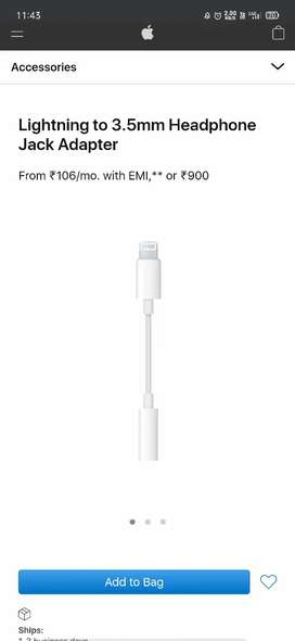 Original Apple lighting to 3.5 cable