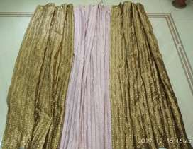 Window curtains, Golden and Pink colors