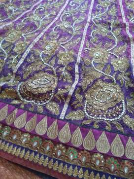 Purple And Gold Floral Textile Designer lehnga.. door step delivery..