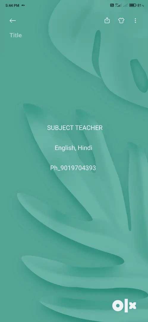 Home Tutor in Adugodi (English and Hindi)