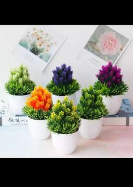 Bunga Tanaman hias Pot dan bunga plastik B hiasan  bonsai 2pcs