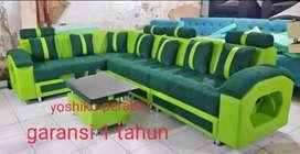 Yoshiko perabot - sofa L laruka hijau