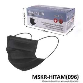 Masker Maxhealth 3ply Hitam isi 50pcs