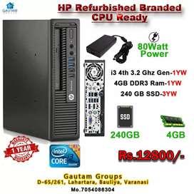 HP CPU i3 4rth 4gb ram 240gb 3Y SSD 130WATT LOW POWER CPU 1Y WARRANTY
