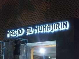 huruf timbul backlight letterbox stainless acrylic galvanil masjid