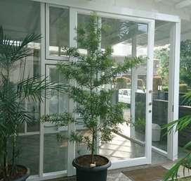 Partisi kaca teras alumunium