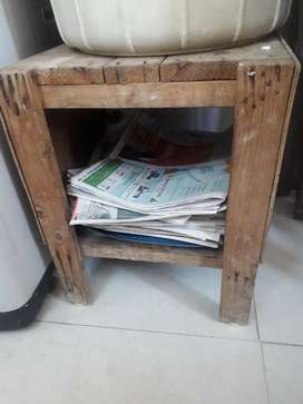 Wooden stool with storage