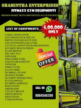 All types of gym equipment with complete setup