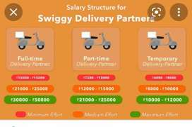@Hiring for swiggy food delivery boys at As rao nagar@