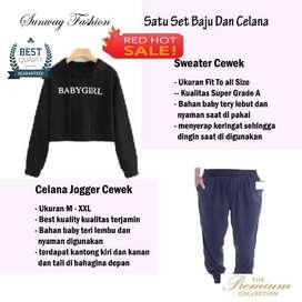 AM00334 Celana Setelan Satu set Sweater cewek dan celana joger