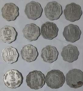10 paisa old coin  16 Nos