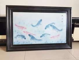 Lukisan kanvas ikan koi lengkap bingkai