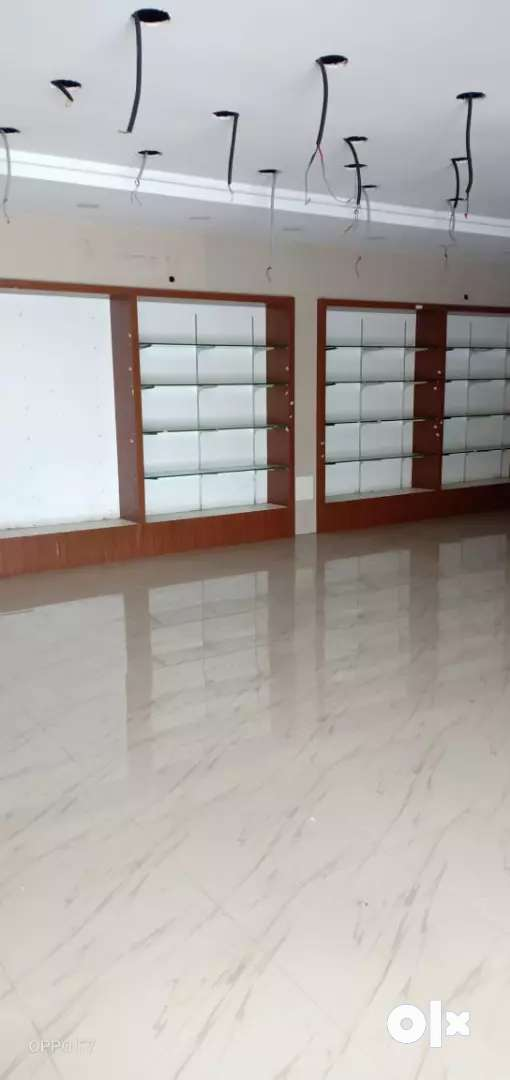Shop interiors shelf glass,  stainless steel support material etc