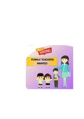 Female teacher Hiring