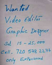 Wanted Experienced Graphic Designer