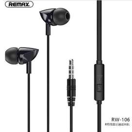 Remax RW-106 New Handsfree With HD Mic In-Ear 3.5mm Jack Wire Earphone