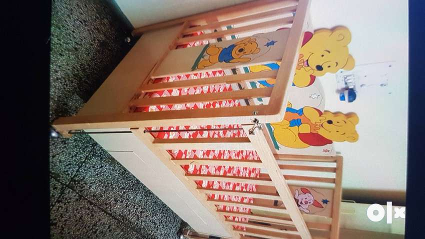 Crib wooden bed with shelf 0