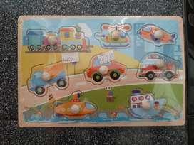 Puzzle Mini Kayu Anak Puzzle Knob Karakter