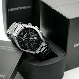 Emporio Armani Chronograph Black Silver Dial Men's Watch AR1400 Date