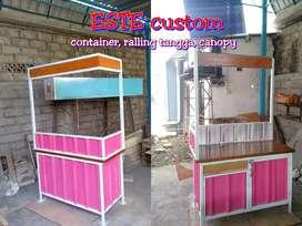 Booth Semi Kontainer/ rombong container bukan gerobak kayu aluminium