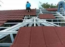 Pemasangan rangka atap baja ringan+genteng metal Pasiran/galvalum