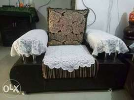 five seater sofa set with floral design cover