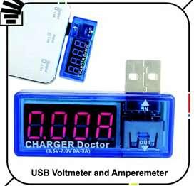 Charger USB Doctor Biru Voltmeter alat ukur Amperemeter Tester Digital