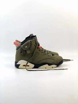 Sepatu nike air jordan 6 retro olive x travis scoot