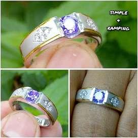 cincin permata ungu simple