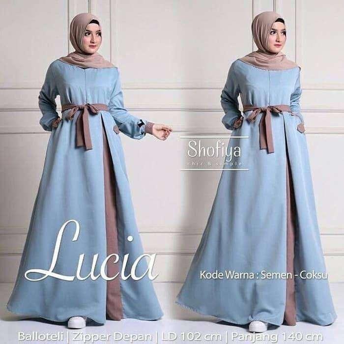 Baju Gamis Syari Wanita Terbaru Lucia Dress White Putih Murah 0