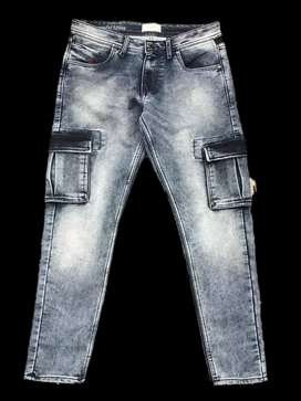 Premium Branded Mens Cargo Denims Jeans with bill