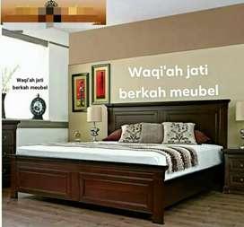 Tempat tidur minimalis modern & mewah, ukuran 160x200, bahan kayu jati