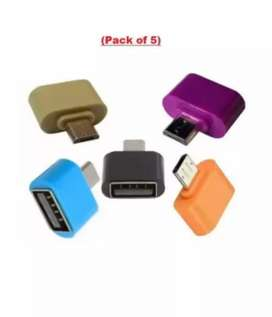 Pack of 5 OTG adapter in white green red colours