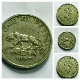 1947 Geroge IV King 1 Rupees Coin Sales