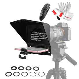 Desview T2 Portable Teleprompter Kit with Lens Adapter Ring, Remote Co